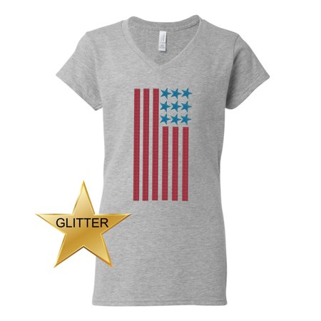 American Flag Glitter 4th of July Patriotic Clothing Womens V Neck T-Shirt Top