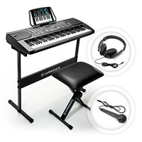 Hamzer 61 Key Portable Electronic Keyboard Piano with Stand, Stool, Headphones & Microphone