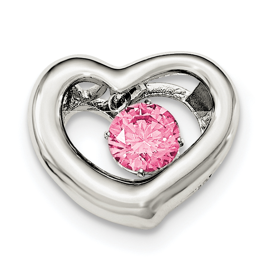 Roy Rose Jewelry Sterling Silver Platinum-plate Swarovski Zirconian Vibrant Pink Cubic Zirconia Heart Pendant by
