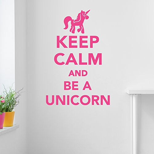Keep Calm And Be A Unicorn Wall Decal Sticker, Vinyl Wall Art, Wall Decor, 27x40, Pink