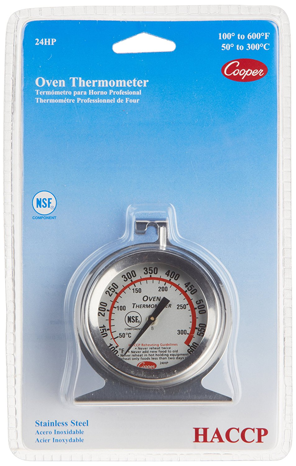 -Atkins 24HP-01-1 Stainless Steel Bi-Metal Oven Thermometer, 100 to 600 degrees F Temperature Range,... by