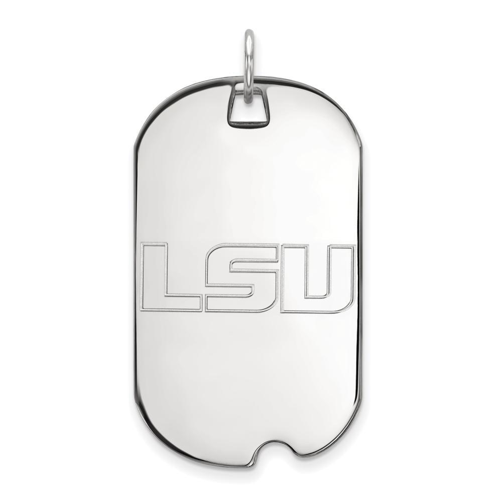 LSU Large (3/4 Inch) Dog Tag (10k White Gold)