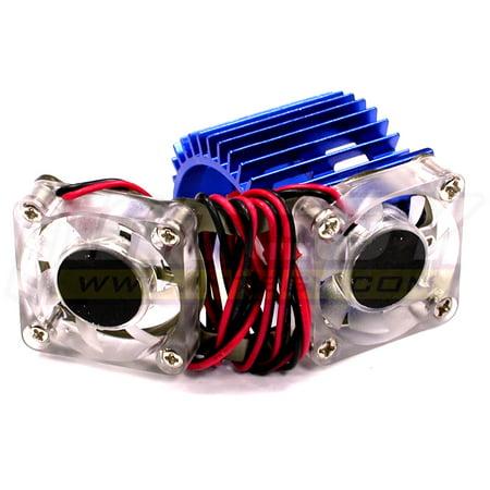 Integy RC Toy Model Hop-ups C23251BLUE Twin Cooling Fan + Heatsink for 540/550 Size Motor w/ 36mm (Toyo Fan)