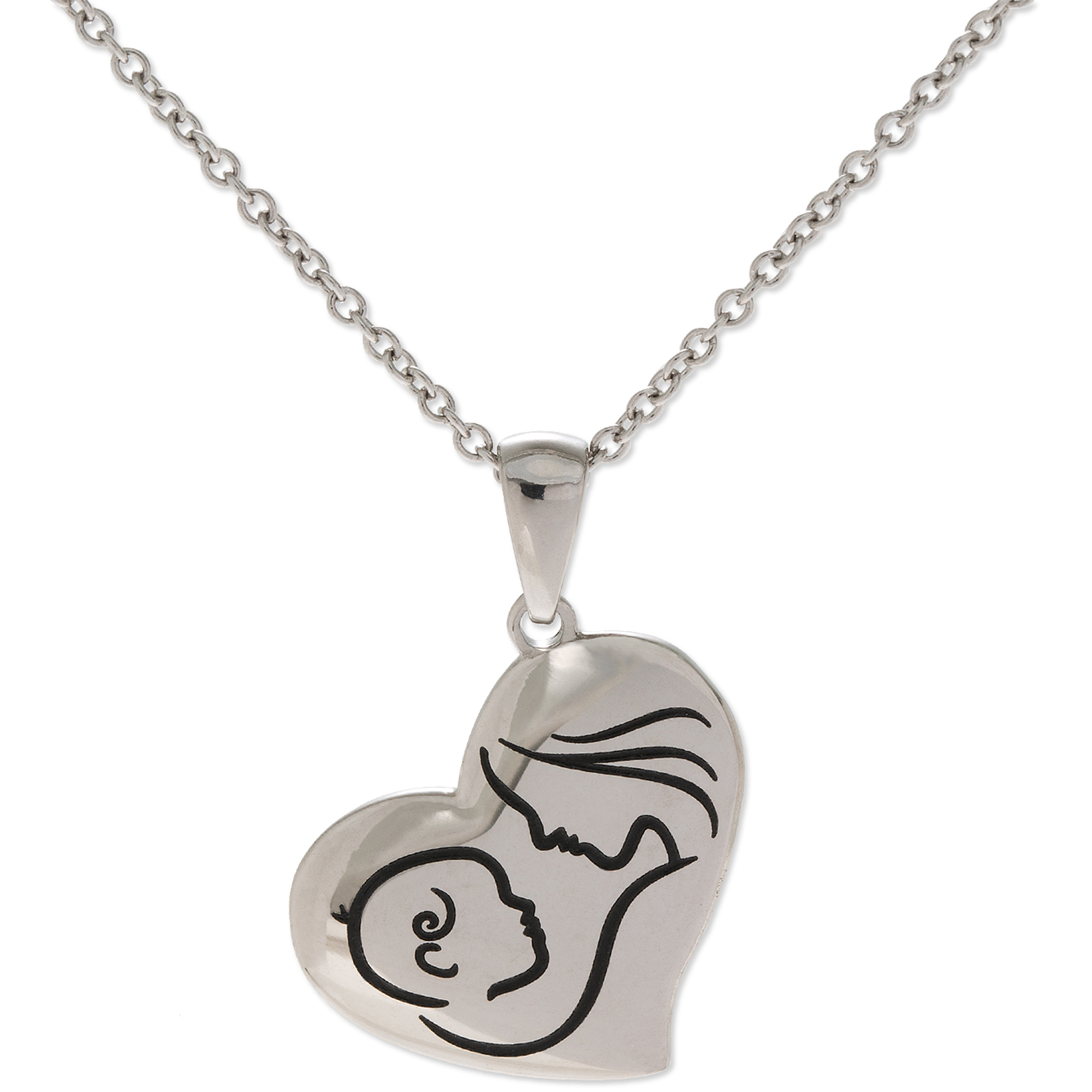 """Connections from Hallmark Stainless Steel Mother and Child Heart Pendant, 18"""""""