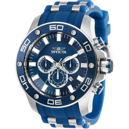 Men's 26085 Pro Diver Quartz Chronograph Blue Dial Watch Diamond Strap Chronograph Blue Dial