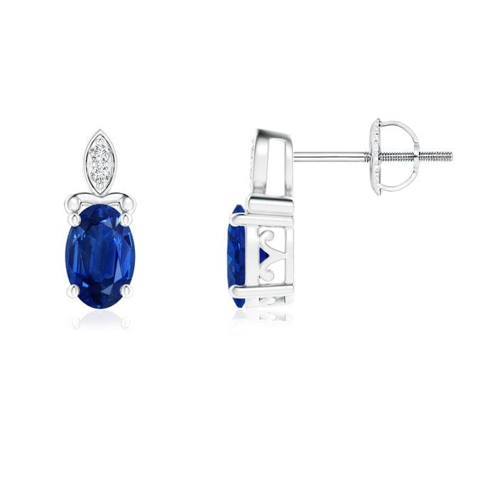 Angara Oval Vintage Blue Sapphire Stud Earrings in Platinum KvzX8kTpbg