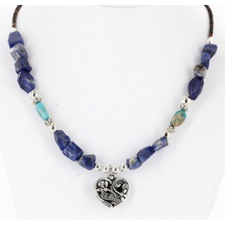 Large Heart Certified Authentic Navajo .925 Sterling Silver Natural Turquoise Lapis Native American