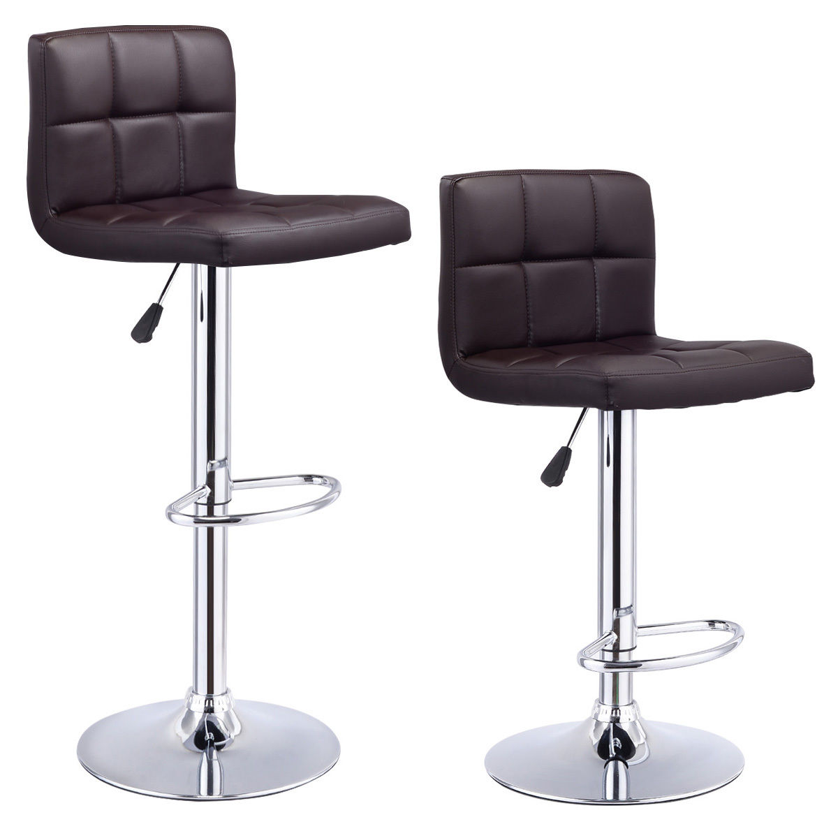Costway Set Of 2 Bar Stools PU Leather Adjustable Barstool Swivel Pub Chairs Brown  sc 1 st  Walmart & Bar Stools - Walmart.com islam-shia.org