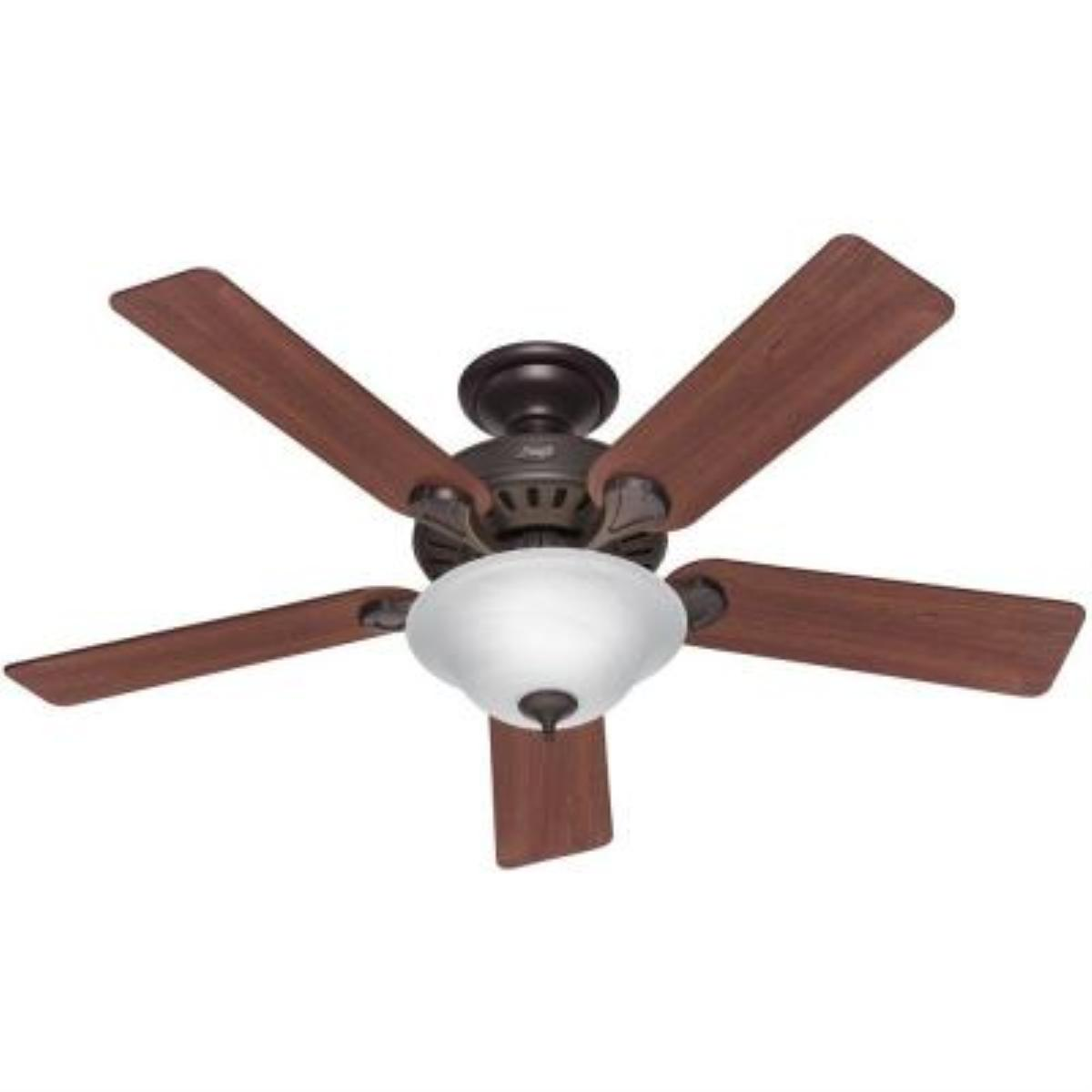 "Hunter 28724 52"" Traditional / Classic Energy Star Rated Pros Best 5 Minute Indoor Ceiling Fa, Dark Cherry/ Medium Oak"