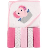 Luvable Friends Baby Hooded Towel with 5 Washcloths, Pink Elephant