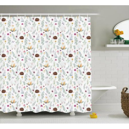 Hedgehog Shower Curtain Soft Watercolor Illustration Of Sheep Fox Rabbit On Art Deco Pattern
