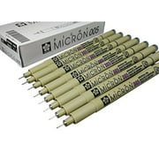 Sakura Pigma Micron pen 005 Black ink marker felt tip pen, Archival pigment ink, fine point for artist drawing pens 8 pen set