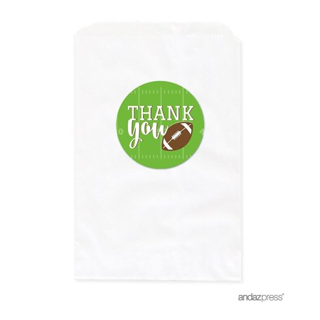 Football Favors (Birthday DIY Party Favors Kit with Thank You Label and White Favor Bags, Football Touchdown! Party,)