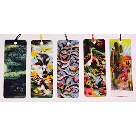 3D Koko Pelli - 3D Hippity Hop – Starry Night In Motion - 3D Natures Embrace - 3D Night And Day - Bookmarks with tassels For Kids - 3d Bookmarks For Kids