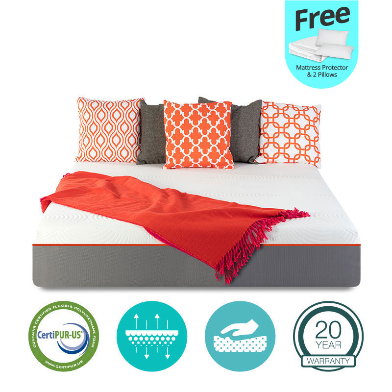 "10"" inch GEL Memory Foam Mattress - Queen - with FREE Protector and 2 Pillows"