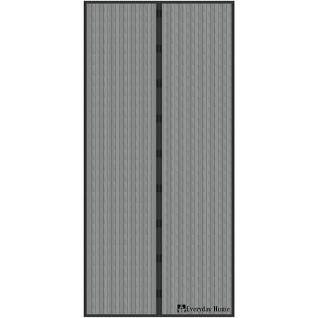 Black Steel Door (Magnetic Screen Door with Heavy Duty Magnets and Mesh Curtain by Everyday)