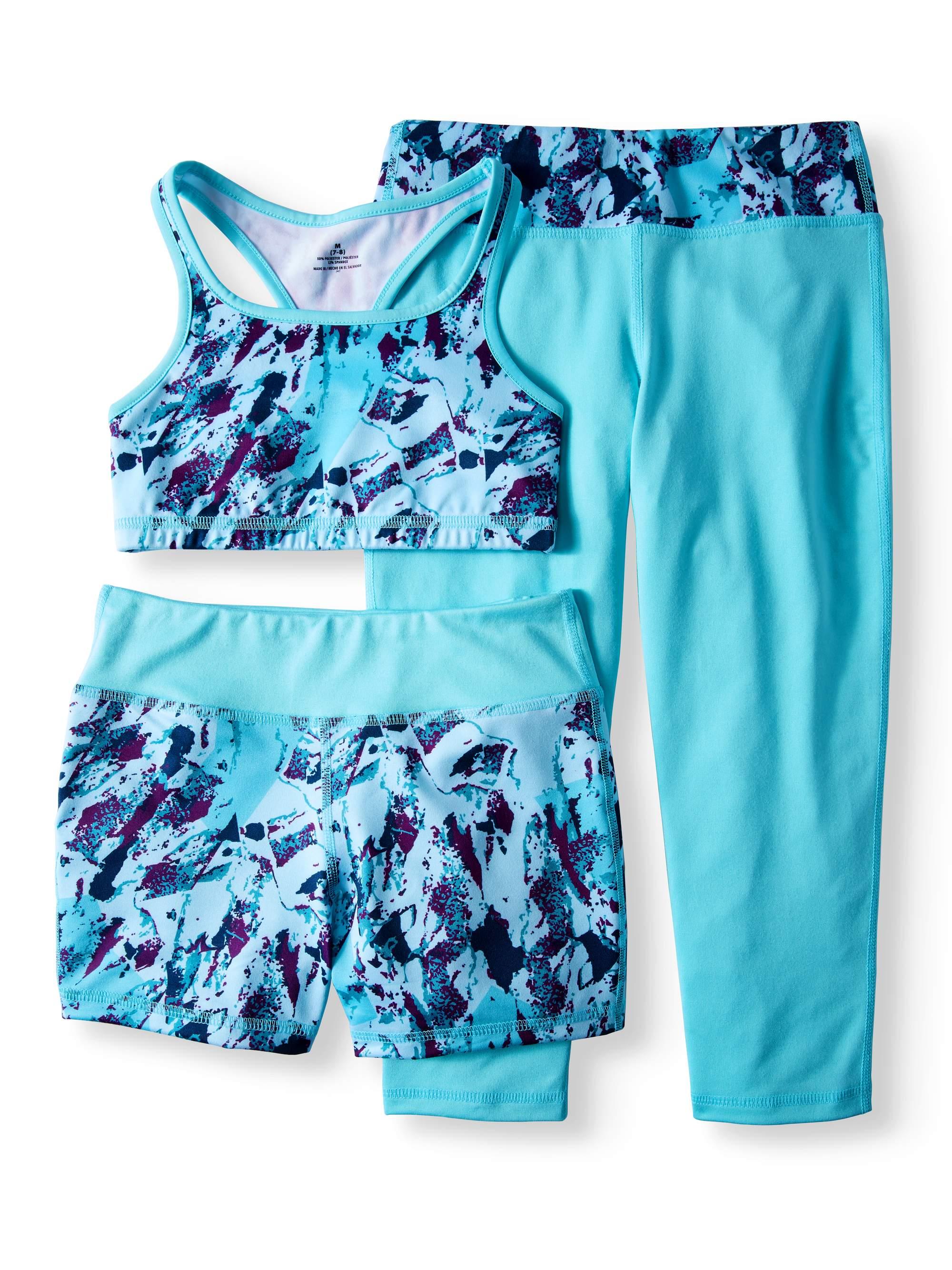 Girls' Performance Sports Bra, Bike Short, And Capri Legging 3-Piece Active Set