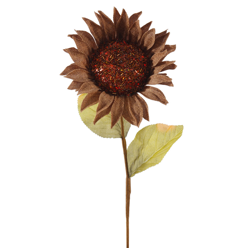 """Vickerman 22"""" Beige Burlap Sunflower Decorative Floral Stem with 7"""" Sequin and Glitter Accented Flower Head."""