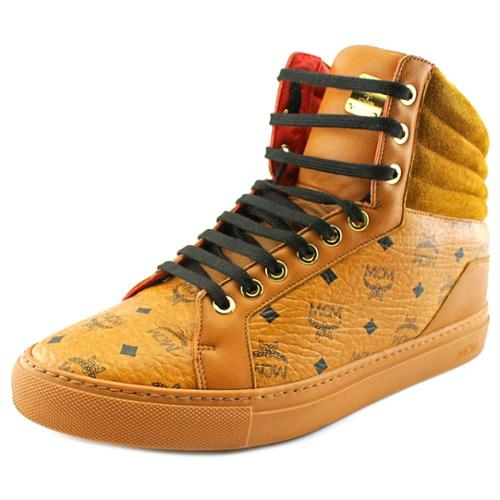 MCM 4A2I18 Men  Round Toe Leather Tan Sneakers