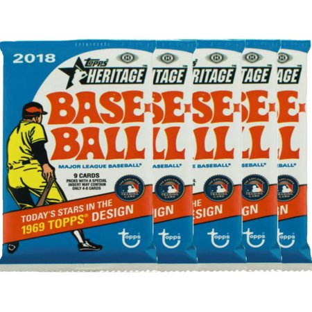 5 2018 Topps Heritage Baseball Unopened Hobby Packs 9
