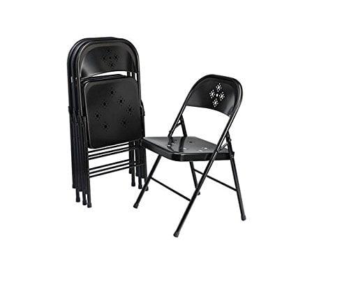 Black Metal Folding Chairs shin crest decorative metal folding chair black - walmart