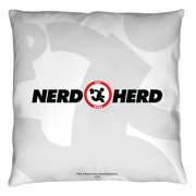 Chuck Nerd Herd Throw Pillow White 14X14