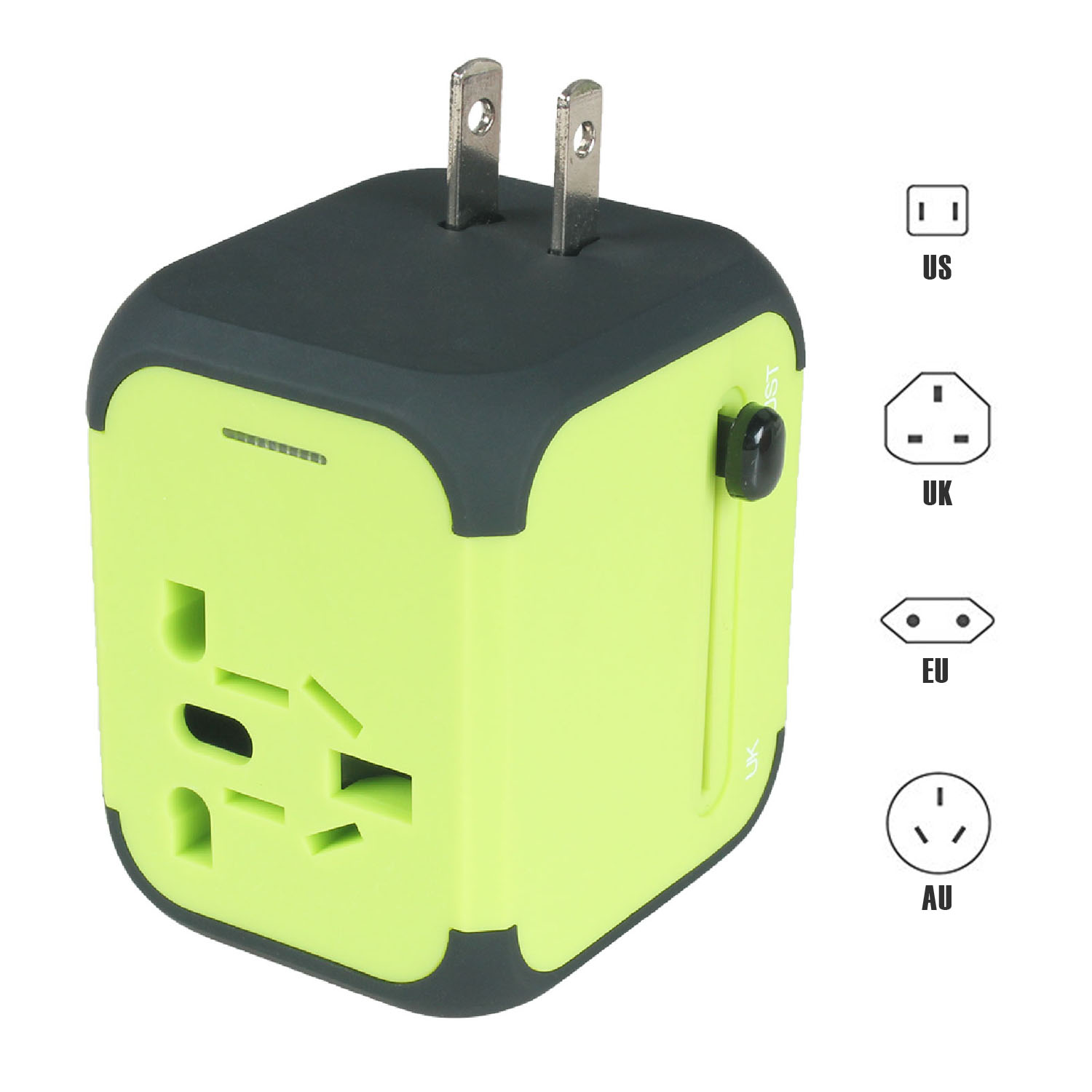 Universal Travel Adapter with Dual USB Ports - Black