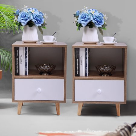 Enchantment Bedroom Furniture - Jaxpety Set of 2 Bedroom Night Stand Bedside Table Furniture Open Storage W/ Drawer