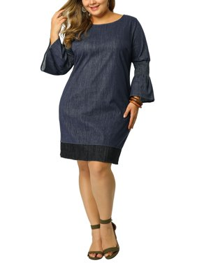 Women's Plus Size Shift Dress Loose Smock Chambray Denim Dress 3X Dark Blue