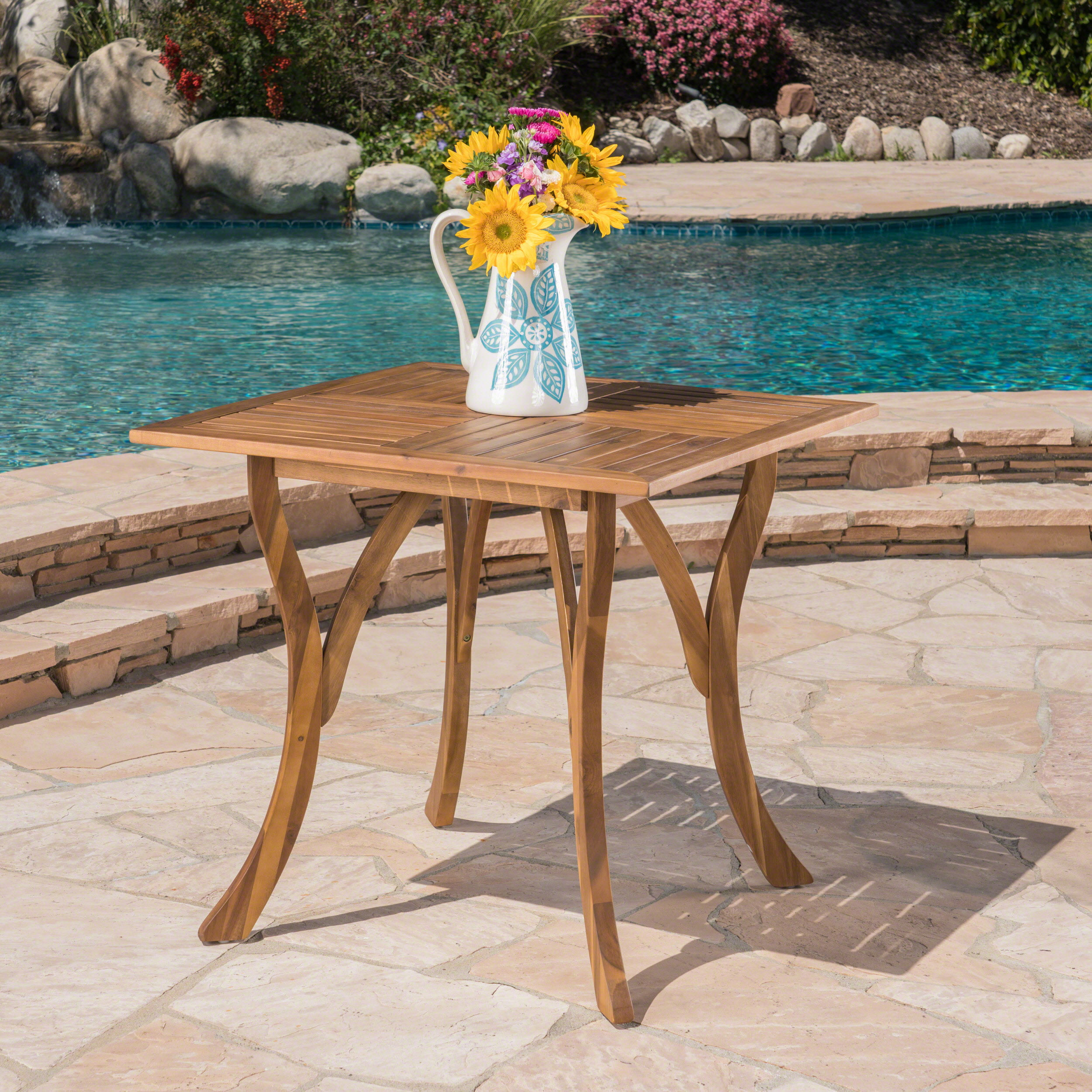 "Kamala 31.5""�Square�Outdoor Acacia Wood Table, Teak Finish by Noble House"