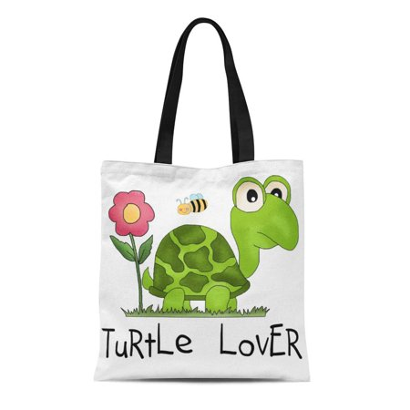 SIDONKU Canvas Tote Bag Reptiles Turtle Lover Tshirts and Love Turtles Child Childrens Reusable Handbag Shoulder Grocery Shopping Bags - Childrens Shopping Bag