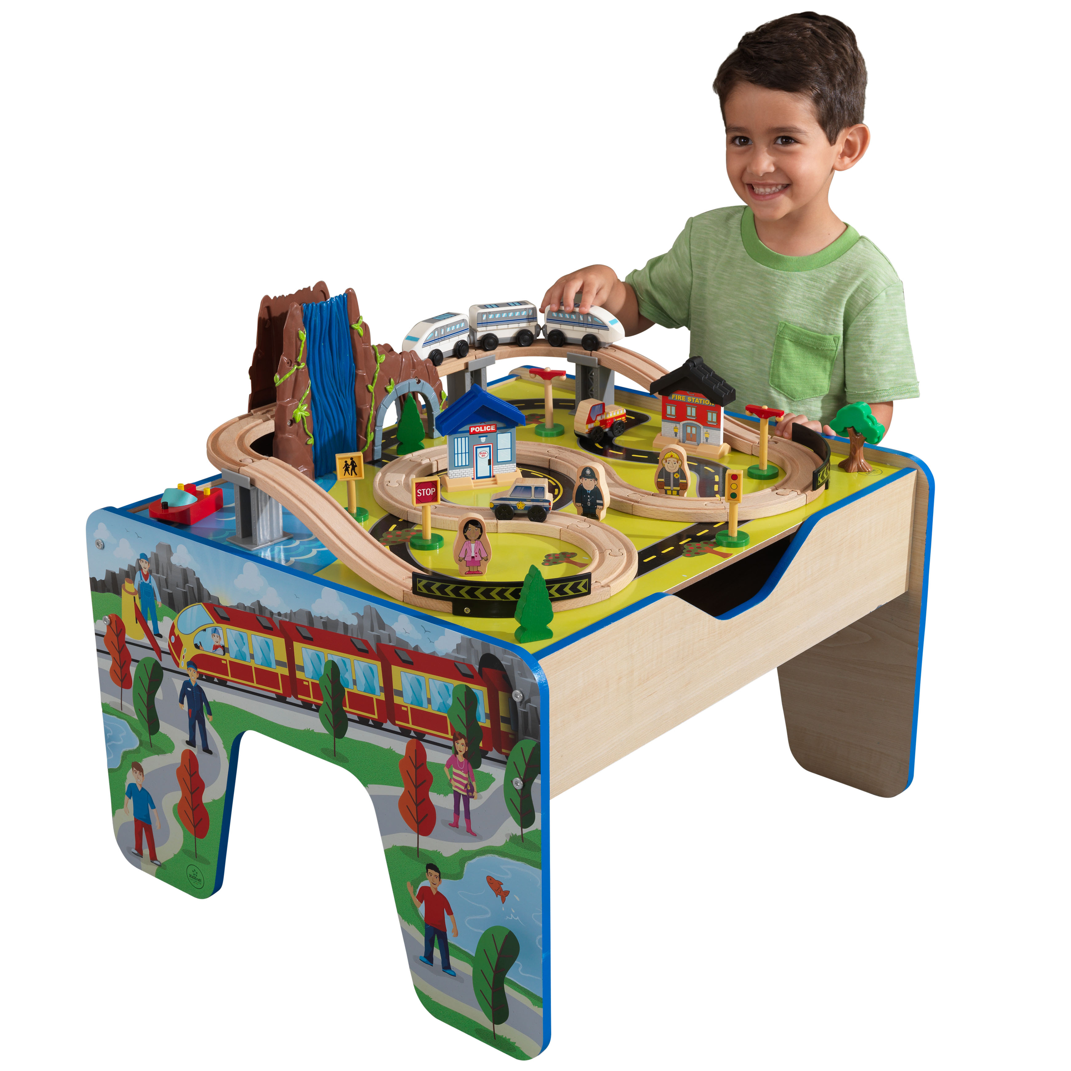 KidKraft Rapid Waterfall Train Set & Table with 48 accessories included