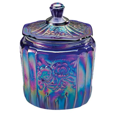 Carnival Blue Glass Biscuit Jar