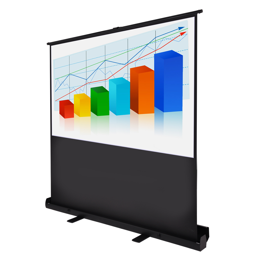 """Floor Stand 60"""" Diagonal 4:3 HD Pull Up Floor Projector Screen 48""""x36"""" 1.3 Gain Home Projection w/ Aluminum Case"""