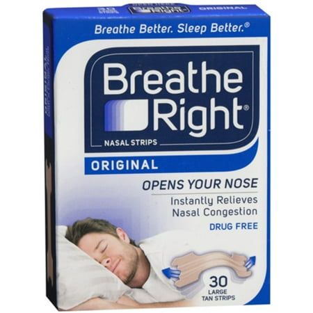Breathe Right Nasal Strips Original Tan Large 30 Each  Pack Of 3