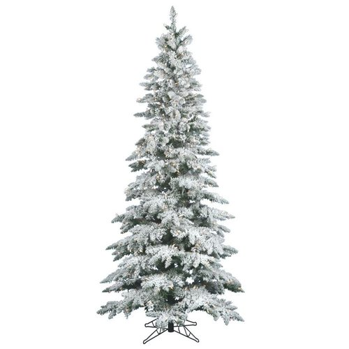 Vickerman Pre-Lit 7.5' Flocked Slim Utica Artificial Christmas ...