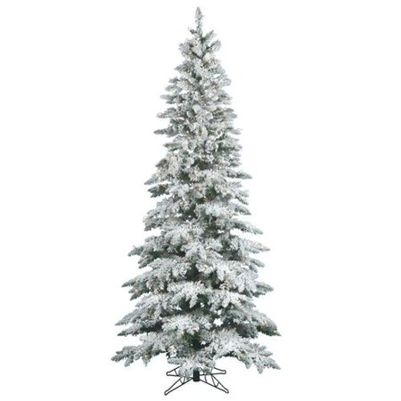 Vickerman Pre Lit 7 5' Flocked Slim Utica Artificial Christmas  - Vickerman Pre Lit Christmas Trees