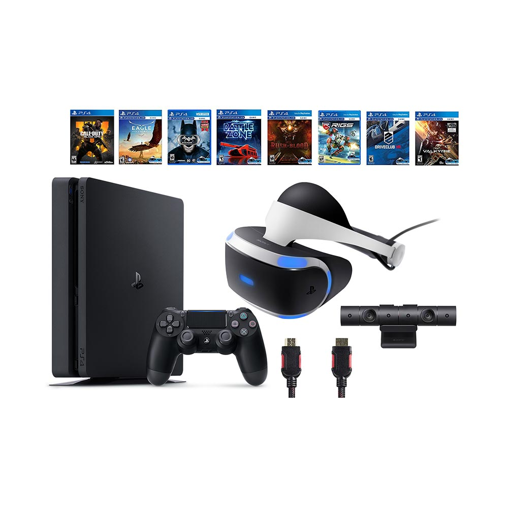 PlayStation VR Bundle 10 Items:VR Headset,Playstation Camera,PS4 Call of Duty Black Ops IIII,7 VR Game Disc Rush of Blood,Valkyrie, Battlezone,Batman:Arkham VR, DriveClub,Combat League,Eagle Flight