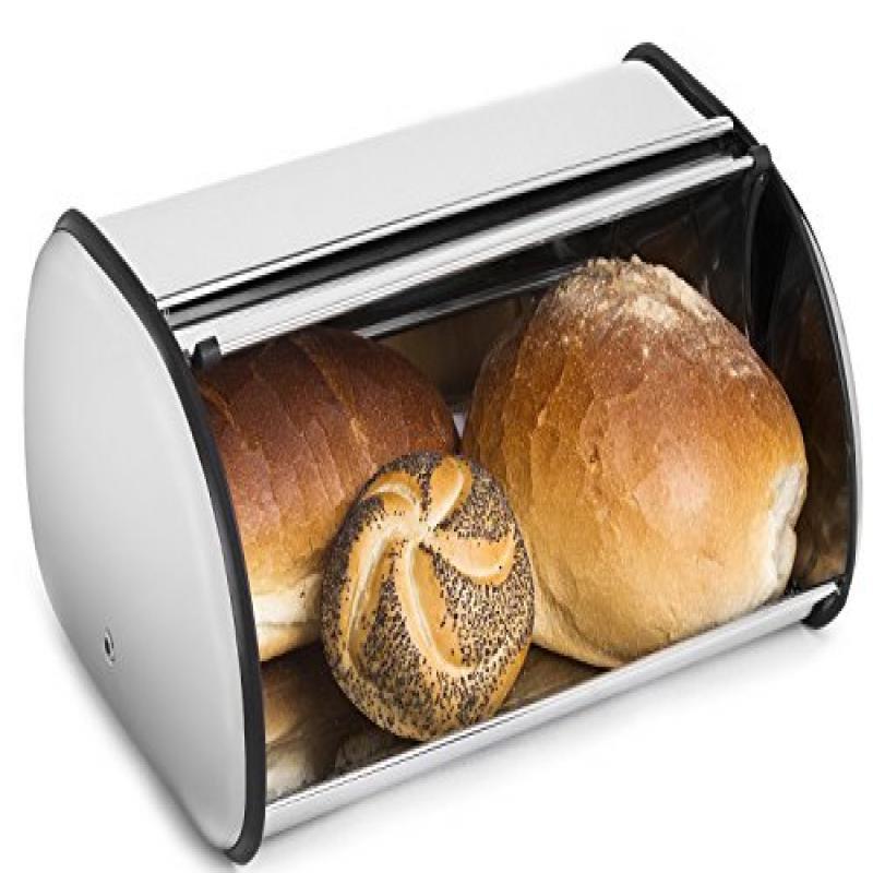 Stainless Steel Bread Bin Storage Box. Food Keeper Container Case Kitchen  Rolls