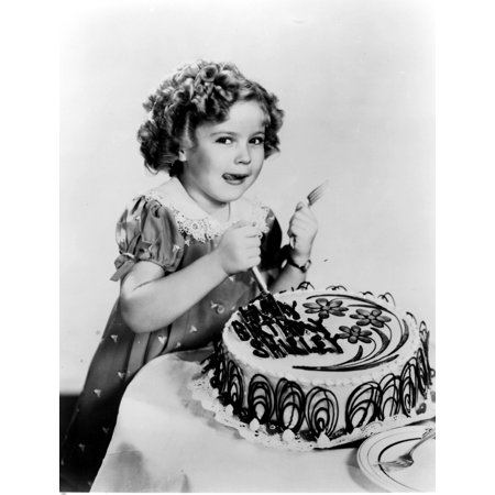 Shirley Temple Eating A Birthday Cake Photo Print