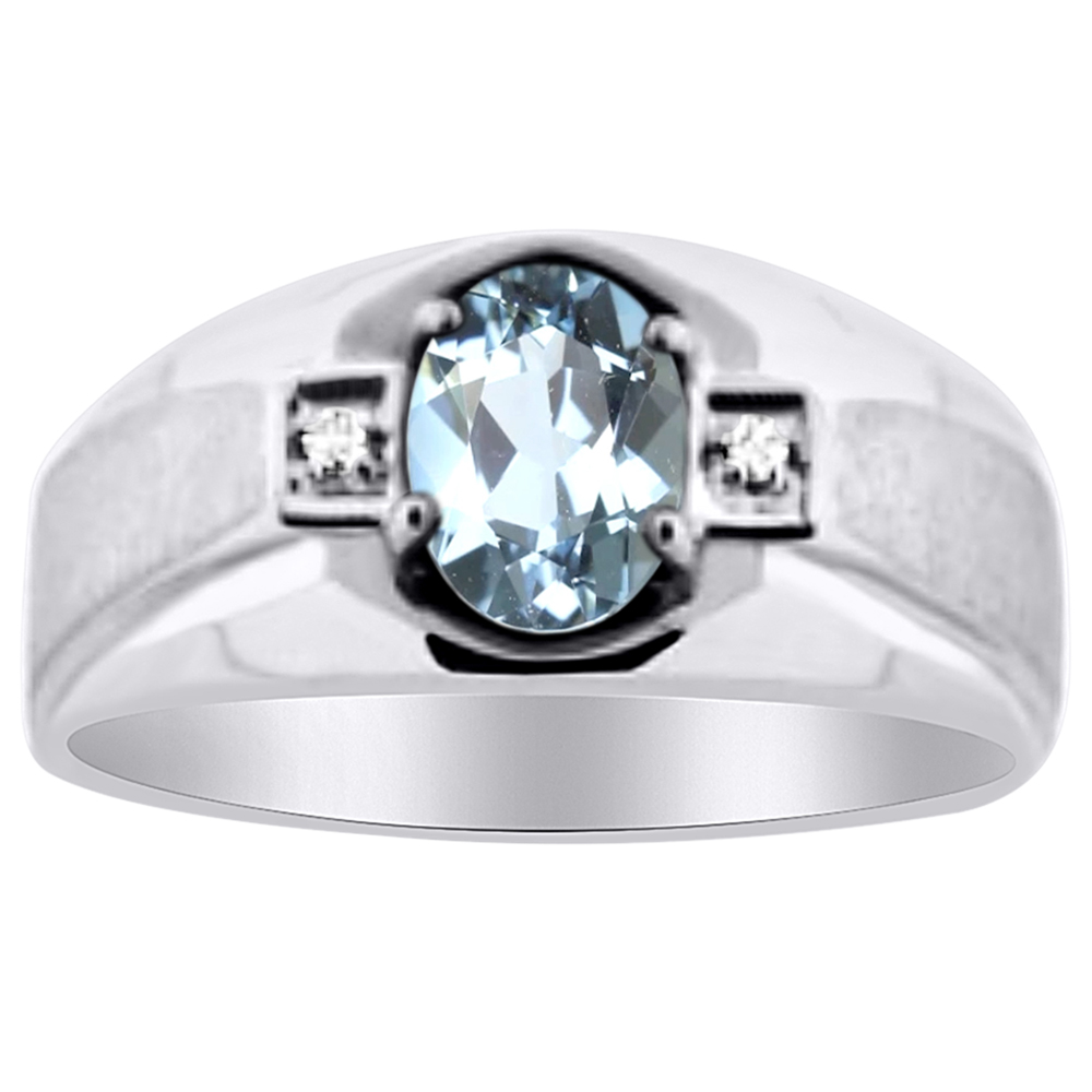 Mens Diamond & Aquamarine Ring 14K Yellow or 14K White Gold by Elie Int.
