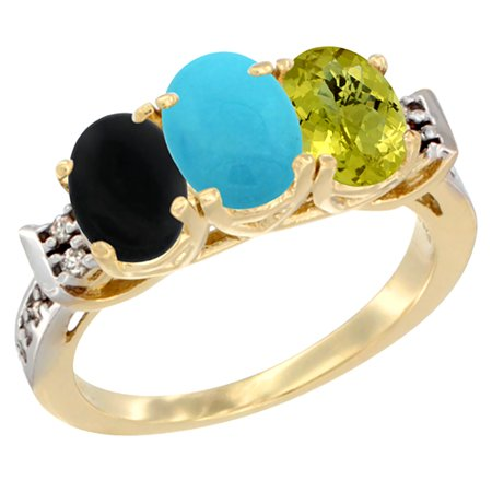 14K Yellow Gold Natural Black Onyx, Turquoise & Lemon Quartz Ring 3-Stone Oval 7x5 mm Diamond Accent, sizes 5 - 10