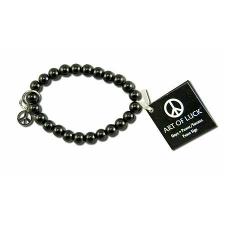 Womens Peace Bracelet - Zorbitz - Art of Luck Bracelet,  Peace - Onyx/Peace Sign, 1 ea
