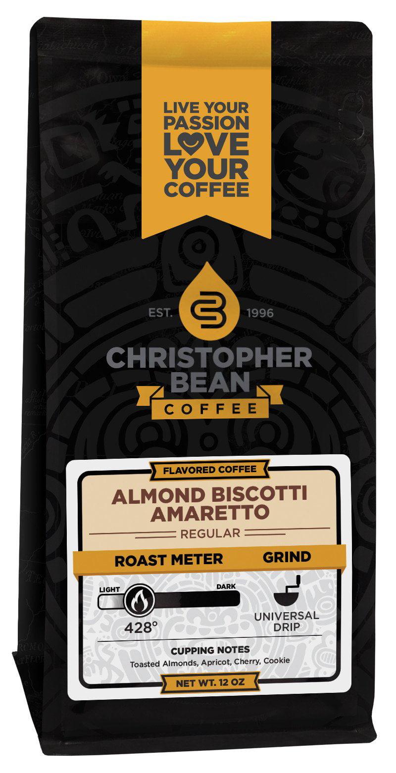 Amaretto Almond Biscotti Flavored Ground Coffee, 12 Ounce Bag