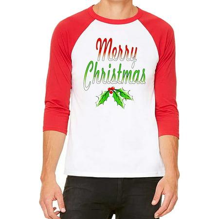 Unisex Merry Christmas White/Red C5 3/4 Sleeve Baseball T-Shirt Large ()