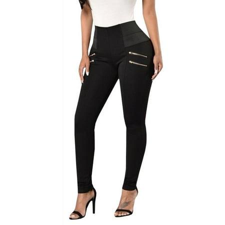 Women Skinny Pencil Pants Elastic Waist Zipper Patchwork Slim Long Leggings