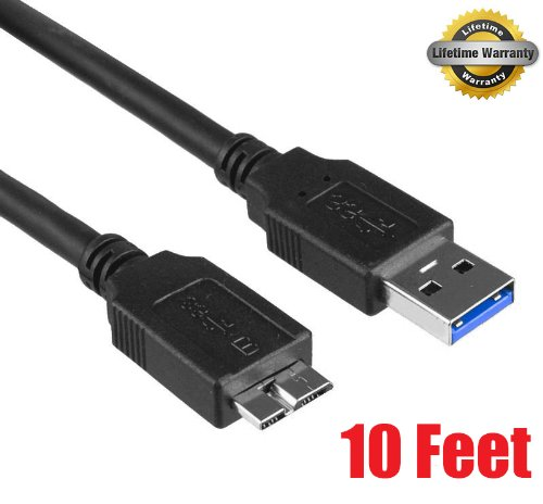 iMBAPrice 10-Feet USB 3.0 A to Micro B Transfer and Charger Cable for WD My Passport Essential WDCA042RNN/Seagate External Hard Drives, Premium Super Speed 5Gbps, Black (U3MC-10BK)