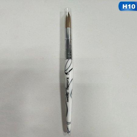 Raypadula New Professional White Acrylic Handle Uv Gel Kolinsky Sable Hair Nail Art Drawing Brush #4\/6\/8\/10\/12\/14\/16\/18\/20\/22\/24 Kolinsky Nail Art Brush