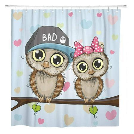SUTTOM Two Cute Cartoon Owls Baby Beautiful Bird Birthday Bathroom Shower Curtain 66x72 inch - image 1 de 1