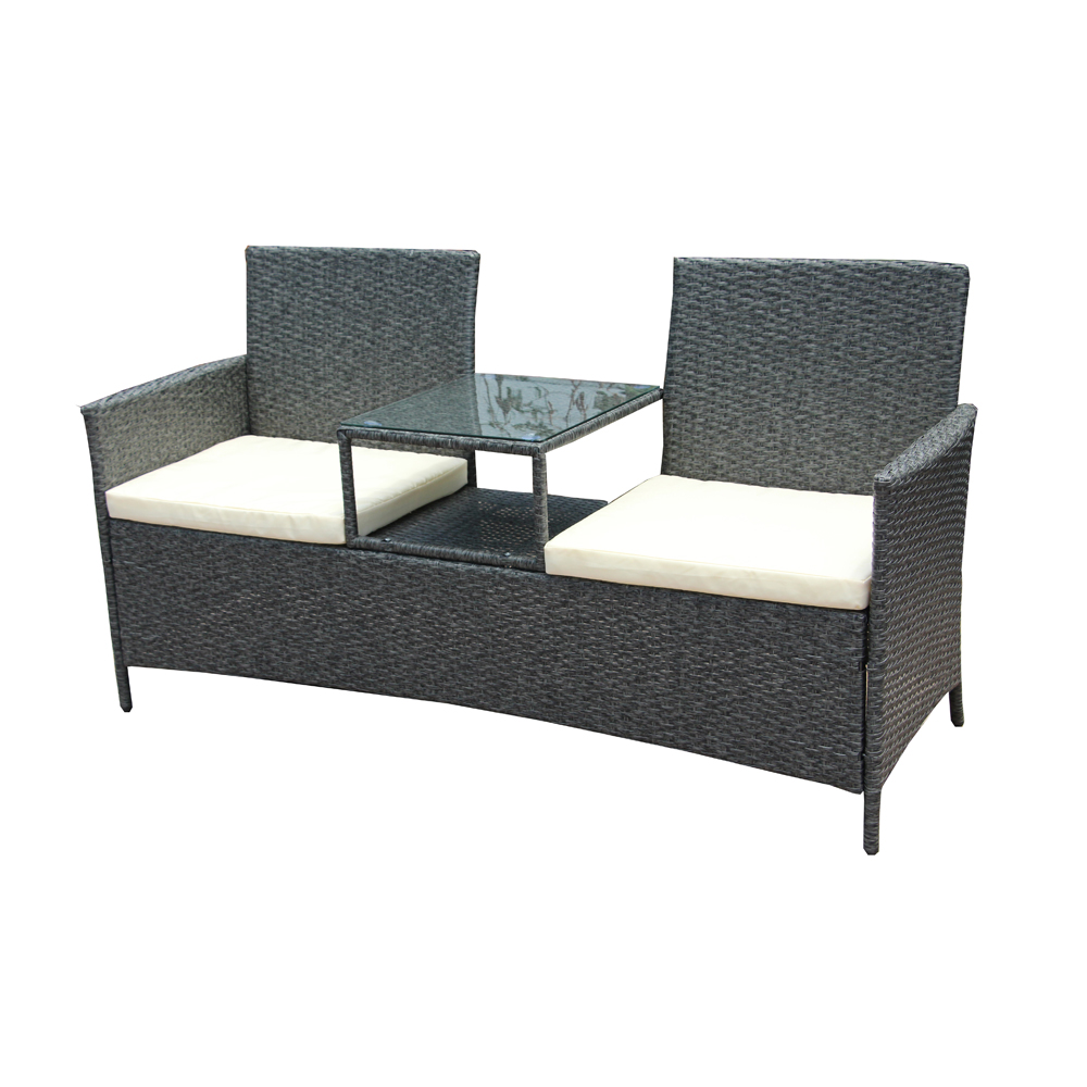 Wicker Coffee Table Indoor Uk: ALEKO Rattan Wicker Indoor/Outdoor Dual-Seated Sofa With